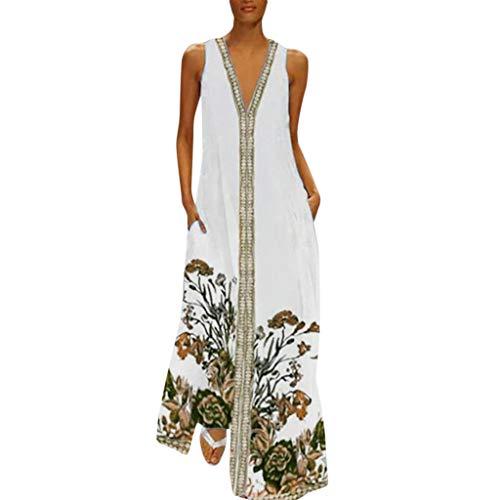 Vovotrade maxi-jurk dames zomer strandjurk lange V-hals mouwloze jurk oversize lange vrijetijdsjurk by