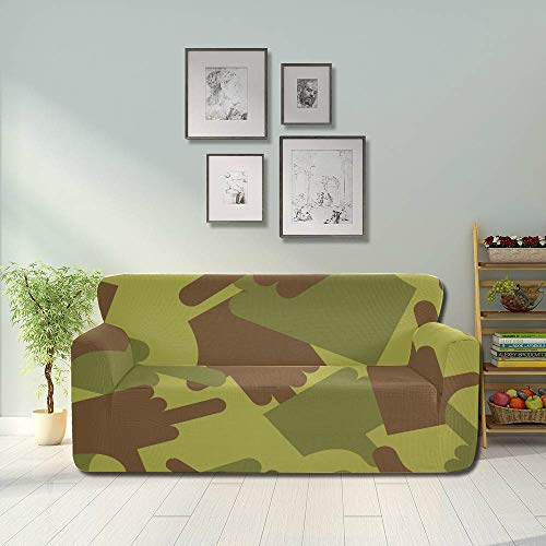 YUMOING Army Fuck Military Camouflage Texture Slipcover for Recliner Chair Sofa Cushion Inserts Fitted Furniture Protector 2&3 Seat Sofas
