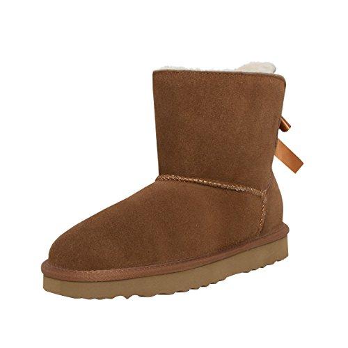 SKUTARI Wildleder Damen Frauen Winter Boots | Warm Gefüttert | Schlupf-Stiefel mit Stabiler Sohle | Schleife Pailletten Glitzer Meliert Schuhe, Camel, 37 EU