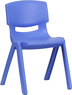 Flash Furniture Blue Plastic Stackable School Chair with 13.25'' Seat Height