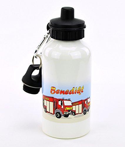"""bedruckte Aluminium Trinkflasche Weiß – Motiv """"Feuerwehr"""" mit Ihrem Wunschnamen"""