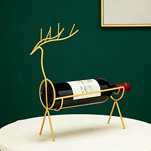 HCYSNG Soporte para Botella de Vino de pie Independiente Acero Inoxidable Botellero Práctico Estante para Botellas de Vino Vinoteca de pie (Color : Gold, Size : Deer)