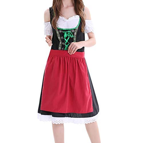 BoyYang Exklusives Designer Trachtenkleid Damen Dirndl Set - Trachtenkleid Kurzarm Stickerei Kalt Ärmel Dirndlbluse für Oktoberfest -2 Teilig: Kleid, Schürze