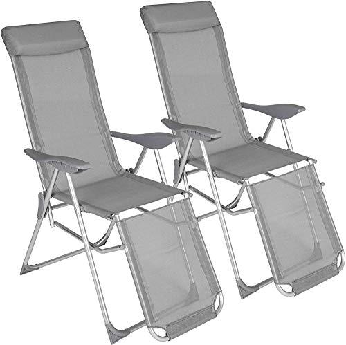 'N/A' Juego de 2 sillas de jardín de Aluminio conRespaldo5 Posiciones AjustablesEstribo móvilPatio Camping al Aire Libre146 5 x 59 x 117 5 cm