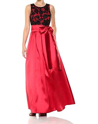 Eliza J Women's Lace Top Ballgown Formal Dress, Black/Red, 10