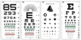 Snellen EFP, Kindergarten, Number, E Illiterate with Astigmatic Chart Distance Vision Eye Chart (Pack of 4 Charts)