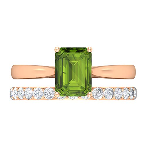 Unique Wedding Ring Set, Peridot Engagement Ring, Moissanite Eternity Ring (6X8 MM Octagone Shape Peridot Ring), 18K Rose Gold, Size:UK S