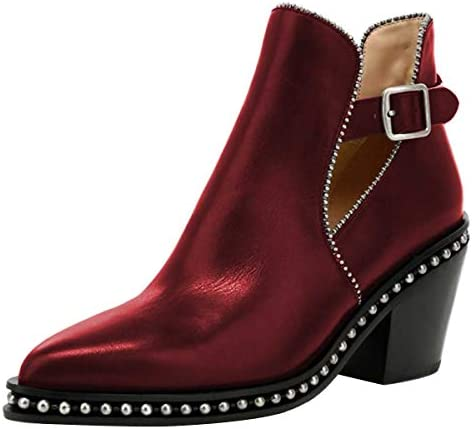 YDN Women Studded Mid Chunky Heeled Ankle Booties Pumps Closed Almond Toe Buckle Strap Short product image