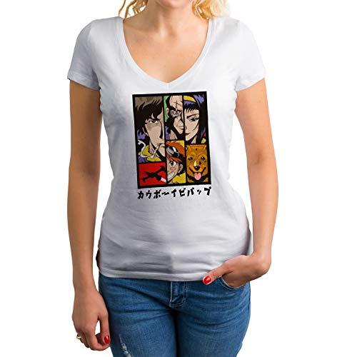 Cowboy Bebop Anime Characters Art Kawai TV Camisa Blanca de Cuello en V para Mujer Size XXL