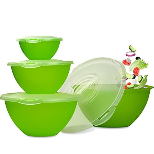 Hausfelder Salatschüssel Set groß | Schüsselset 8-teilig | Schüsseln mit Deckel aus Kunststoff BPA-frei (8-teilig)