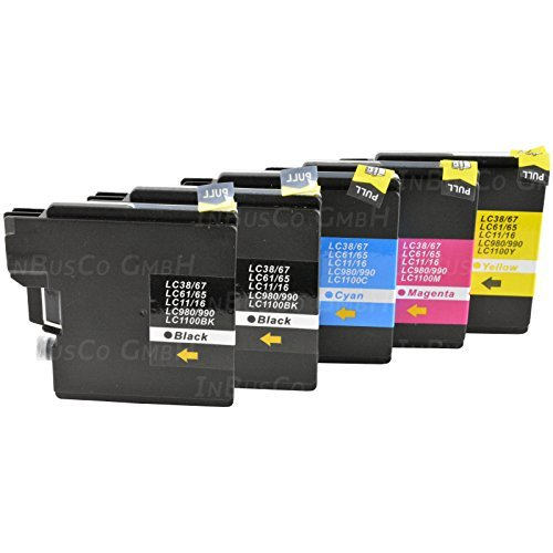 5 x de Tinta para Brother MFC-250 C/MFC-290 C/MFC-490CW LC 980, LC1100