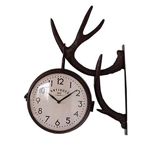 VBARV Außenhalterung Uhr, Vintage doppelseitige Wanduhr, Premium-Metallmaterialien, kreative Wandbehang Korbhaken, mit wasserdichter Abdeckung, für Gartenhaus