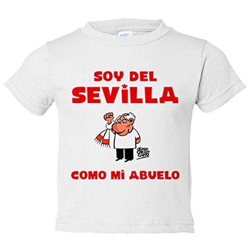 Camiseta niño soy del Sevilla como mi abuelo Jorge Crespo Cano - Blanco, 3-4 años