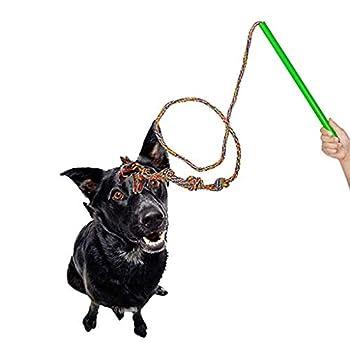 Interactive Dog Toy Flirt Pole Fun Extendable Jouet à mâcher pour Tirer, Chasing, Mâcher, taquineries et Formation, Corde Upgraded,S