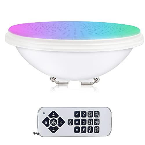 KWODE Pool Par56, iluminación de piscina RGB de 54 W con control remoto, foco subacuático, luz de piscina LED de 12 V CA / CC, resina lámpara de piscina plana para PC, impermeable IP68