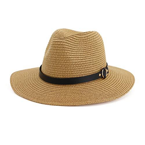 Charmylo Panama - Sombrero de paja para mujer, protección UV, paja Fedora, sombrero con cinturón, cáscara ornamental, cinturón transpirable, sombrero para la playa, para mujeres