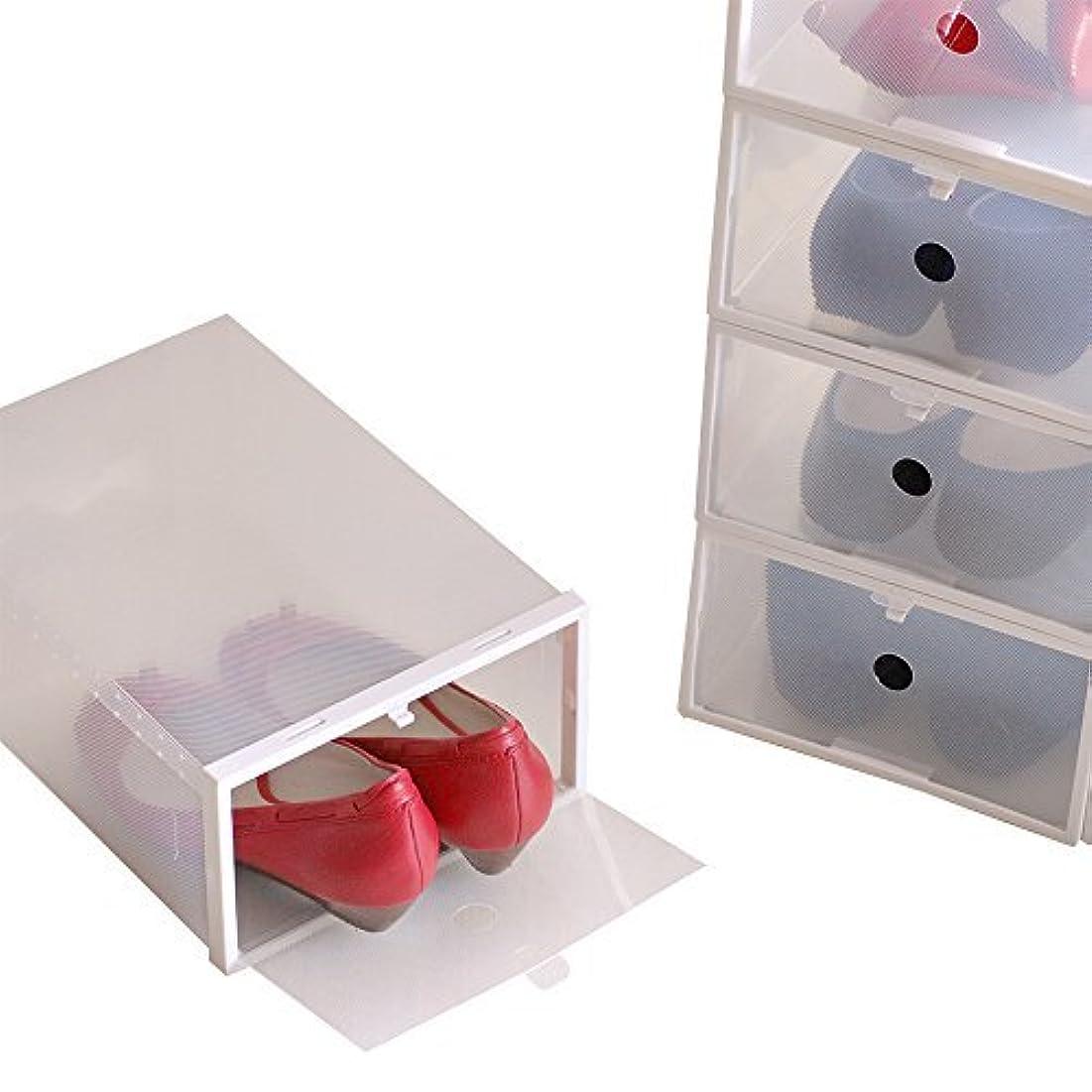 誤って運営犯人女性用シューズボックス枠付き ホワイト 1セット8箱入り 透明クリアーケース(HK)