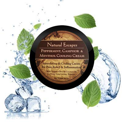 Organic Peppermint, Camphor & Menthol Cooling Cream   Natural Pain Relief Cream   Cooling Foot Lotion   4oz