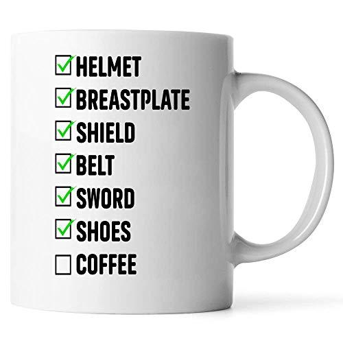 Max&Mori The Armor of God Coffee Mug - Super Cool Funny and Inspirational Gifts - Ultimate Travel Gear Christian Jesus God Religious - Best Joke Fun Sarcasm Checklist Coffee Mug Ceramic (White, 11 OZ)