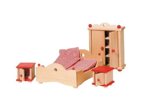 Goki 51954 - Schlafzimmer, 4-teilig, Puppenhausmöbel