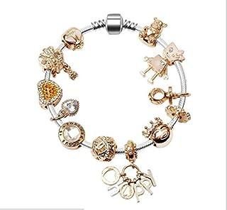 Silver Plated Snake Chain Cute Golden Beads Happy Charm Beaded Bracelets for Women 18cm