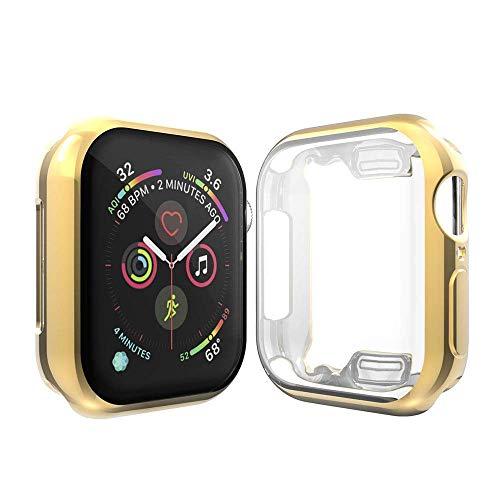 Cerike Kompatibel mit Apple Watch Series 5/Series 4 40mm Bildschirmschutz, Soft Slim FullAro& Protective hülle Schutzhülle für iWatch Series 5/Series 4 SmartWatch (40MM, Gold)
