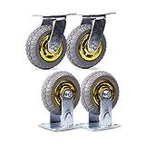 KISNAD Ruedas para Silla Oficina 6 Pulgadas 8 Pulgadas Heavy Duty Trolley Castor Set frenada Caster X 4 (2 Universal Wheels + 2 Fijo) (Color : 8 Inch)