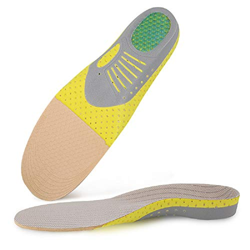 Orthotic Sports Shock Absorption Insoles for Walking Hiking Arch Support Heel Pain Relief Plantar Fasciitis Orthotics Flat Feet Full Length Inserts Size Cuttable 3-7