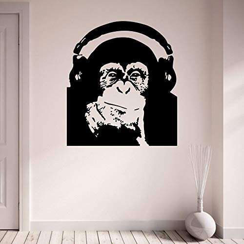 Tianpengyuanshuai Schimpansen Kopfhörer Korridor Home Decal abnehmbare Vinyl Kunst Wandaufkleber 40X45cm