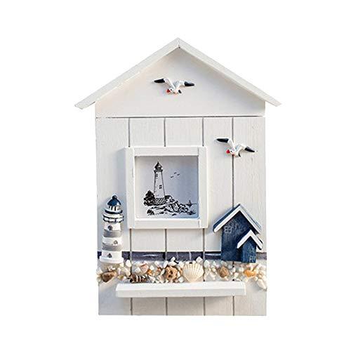 tellaLuna Gabinete de llaves de estilo mediterráneo de madera estilo náutico montado en la pared titular de la llave de madera caja de almacenamiento gabinete