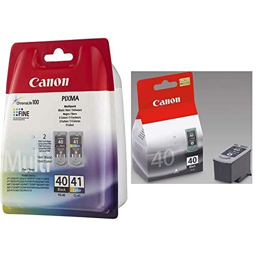 Canon PG-40+CL-41 Cartucho Multipack de Tinta Original Negro y Tricolor + PG-40 Cartucho de Tinta Original Negro para Impresora de Inyeccion de Tinta Pixma