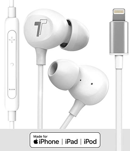 Thore 2020 iPhone SE Earbuds (V60) Wired in-Ear Earphones (Apple MFi Certified) Lightning Headphones with Mic for iPhone 7/8 Plus, X, Xs Max, XR, 11/Pro Max, SE - White