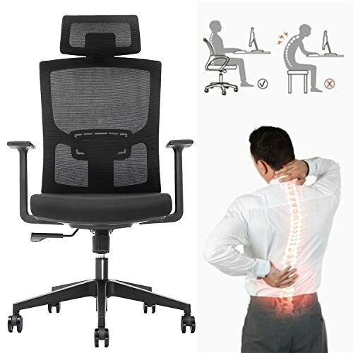 Ergonomic Adjustable Office Chair,High Back Home Desk Chair with Lumbar Support and Breathable Mesh,Thick Seat Cushion,Computer Chair with Adjustable Headrest and Armrests