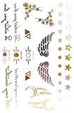 Oh My Shop ZCM10 - Tabla de tatuajes efímeros, diseño de símbolo y mensajes, color plateado y dorado