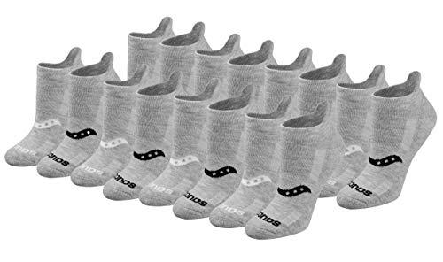 Saucony Women's Multi-Pack Performance Heel Tab Athletic Socks Running, Grey Basic (16 Pairs), Shoe Size: 3-8 UK
