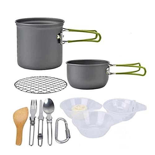 Utensilios De Cocina De Camping Kit Hikking Cocinar Kit De Picnic Antiadherente De Cocción Fijado con Vajilla para Mochilero Trekking Verde
