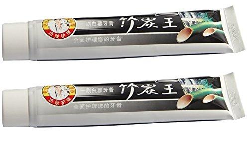 (Confezione da 2) Belle Bamboo Charcoal Denti che imbiancano i dentifrici - Sbiancante per i denti e smacchiatore - Garantisce alito fresco e gengive sane - Sbianca i denti, elimina l'alitosi, rimuove la placca