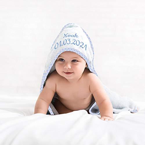 Kapuzen-Badetuch für Kleinkinder & Babys mit Name, Geburtsdatum oder Wunschtext, Handtuch mit Kapuze, Babytuch aus 100% Baumwolle - ÖkoTex geprüft, extra weich, für Mädchen und Jungen, hellblau