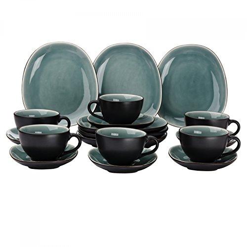 Van Well Elements 18-TLG. Kaffeeservice | Kaffeetasse + Untertasse + Kuchenteller | edle Geschirr-Kollektion | Steingut glasiert | Farbe:grün-schwarz