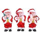 GOTOTOP Muñeco de Papá Noel de 3 Piezas con Pilas, Figura móvil Musical navideña de Juguete de Felpa para decoración de Fiestas en casa sin batería de 7 Pulgadas(Red)