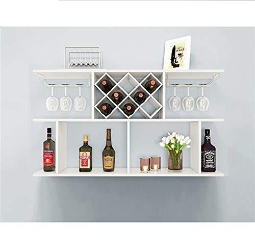 PANNN Weinregal Wand Weinschrank Rack Wandbehang Regal kreative einfache Diamant Wein Gitter für Bar Home Küche,120white