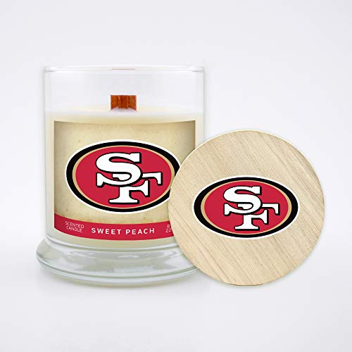 Worthy Promo NFL Scented Candle 8 Oz Soy Wax, Wood Wick and Lid, San Francisco 49ers (Peach)