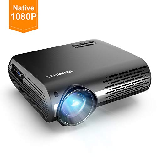 WiMiUS Projector 1080P,6200 lumen Video Projector HD 1080P with Native 1920x1080P Electronic 4D ±50°Keystone Correction LED Projector Support 4K 300' LCD Projector Compatible Smartphone,TV Box