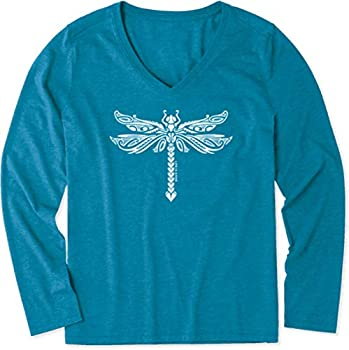 Life is Good Dragonfly Tattoo Long Sleeve Cool Tee Persian Blue LG  US 12-14