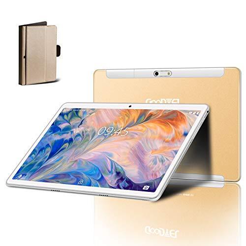 Tablet 10 Pulgadas GOODTEL G3 Android 9.0 Tablets RAM de 4GB, ROM de 64GB, Quad-Core Cámara Dual 5.0+8.0 MP, Dual SIM 8000mAh Batería, WI-FI,Bluetooth,GPS,Trabajar,estudiar,Viajar Type-C Tablet-Oro