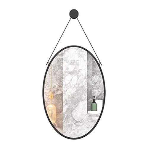 Espejo de baño Espejo De Pared Ovalado, Espejo De Baño Con Marco De Metal Grande, Decoración De Pared Con Espejo Plateado HD, Espejo De Afeitar Para El Vestidor De La Sala De Estar Del D(Size:50×70CM)
