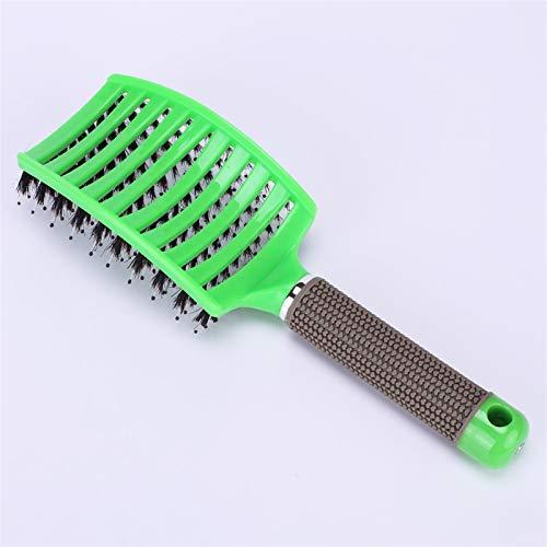 Frauen Weibliche Haar-Kopfhaut Massage Kamm Borsten & Nylon Haarbürste Nass Curly Detangle Haarbürste Für Salon Friseur Styling Werkzeuge (Color : Type A Green)