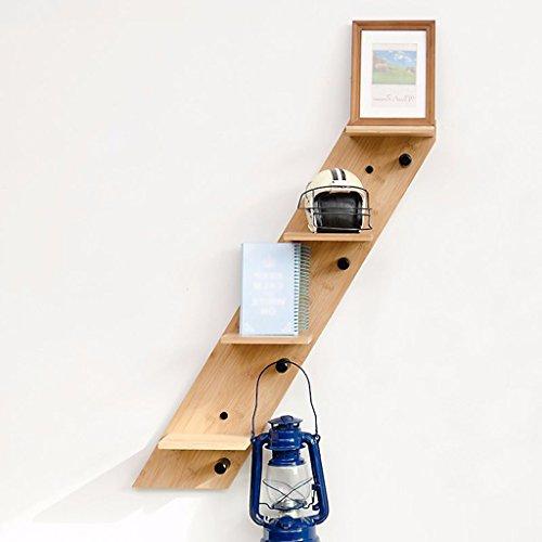 LiuJF-Home Accessories Vaste houten opslagplank, drie of vier lagen schuin water-kleuren-scheidingsteken zwevende planken op de wand-opslag-muur overbelaste zwevende planken met haken 50-70 cm