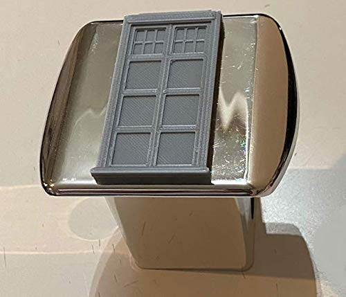 LicensePlateFreak Doctor Who Telephone Booth in 3D - Chrome with Grey - 2 inch Trailer Hitch Cover