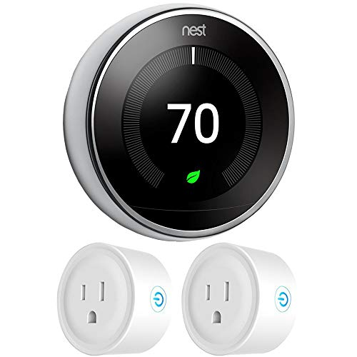 Google Nest T3019US Learning Thermostat 3rd Gen Smart Thermostat, Polished Steel Bundle...